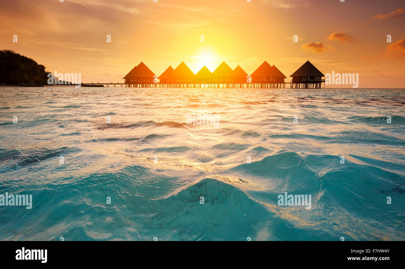 Sunset at Maldives Tropical Island, Ari Atoll - Stock Image