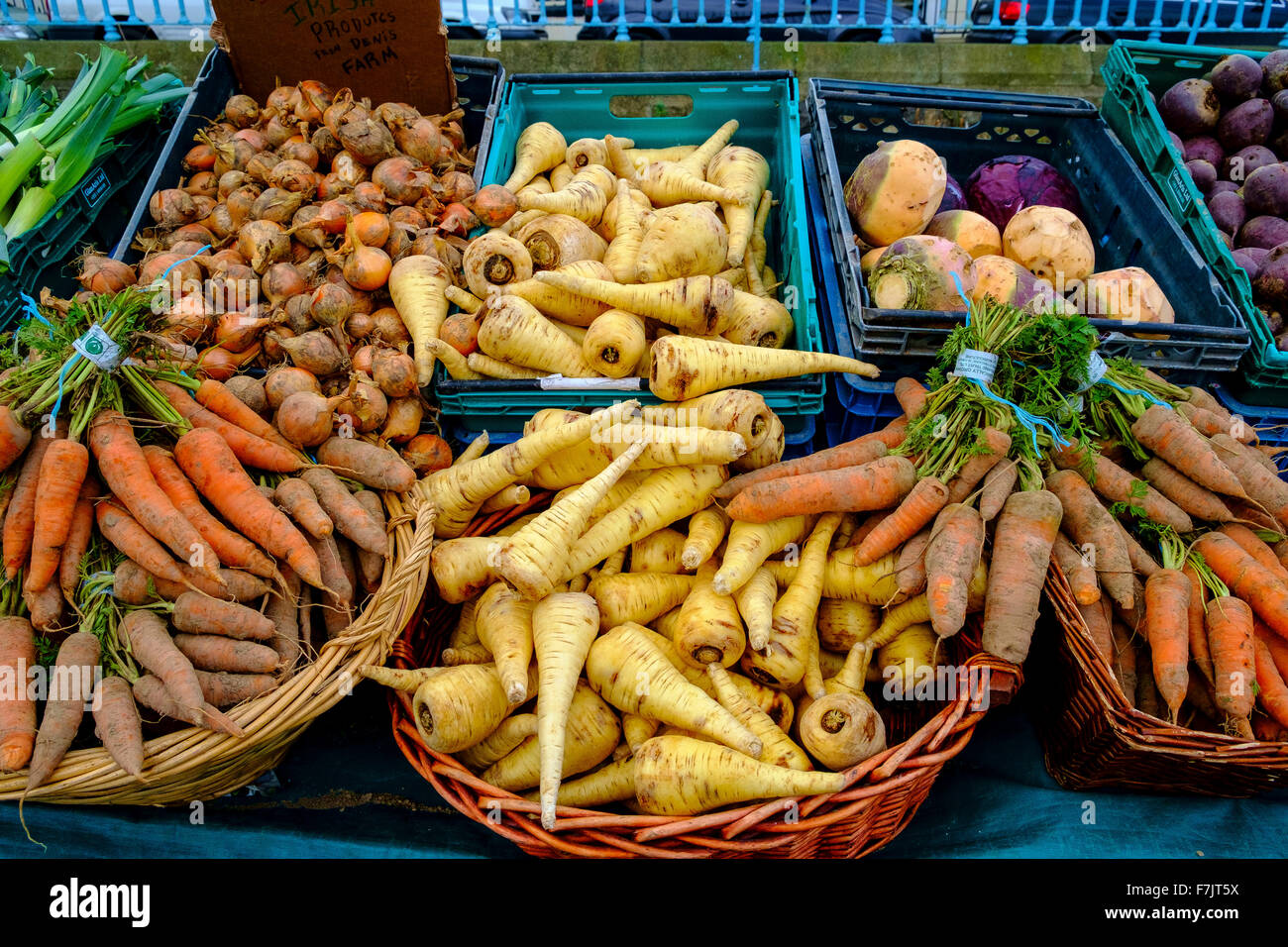 root vegetables carrot parsnip swede turnip onion - Stock Image
