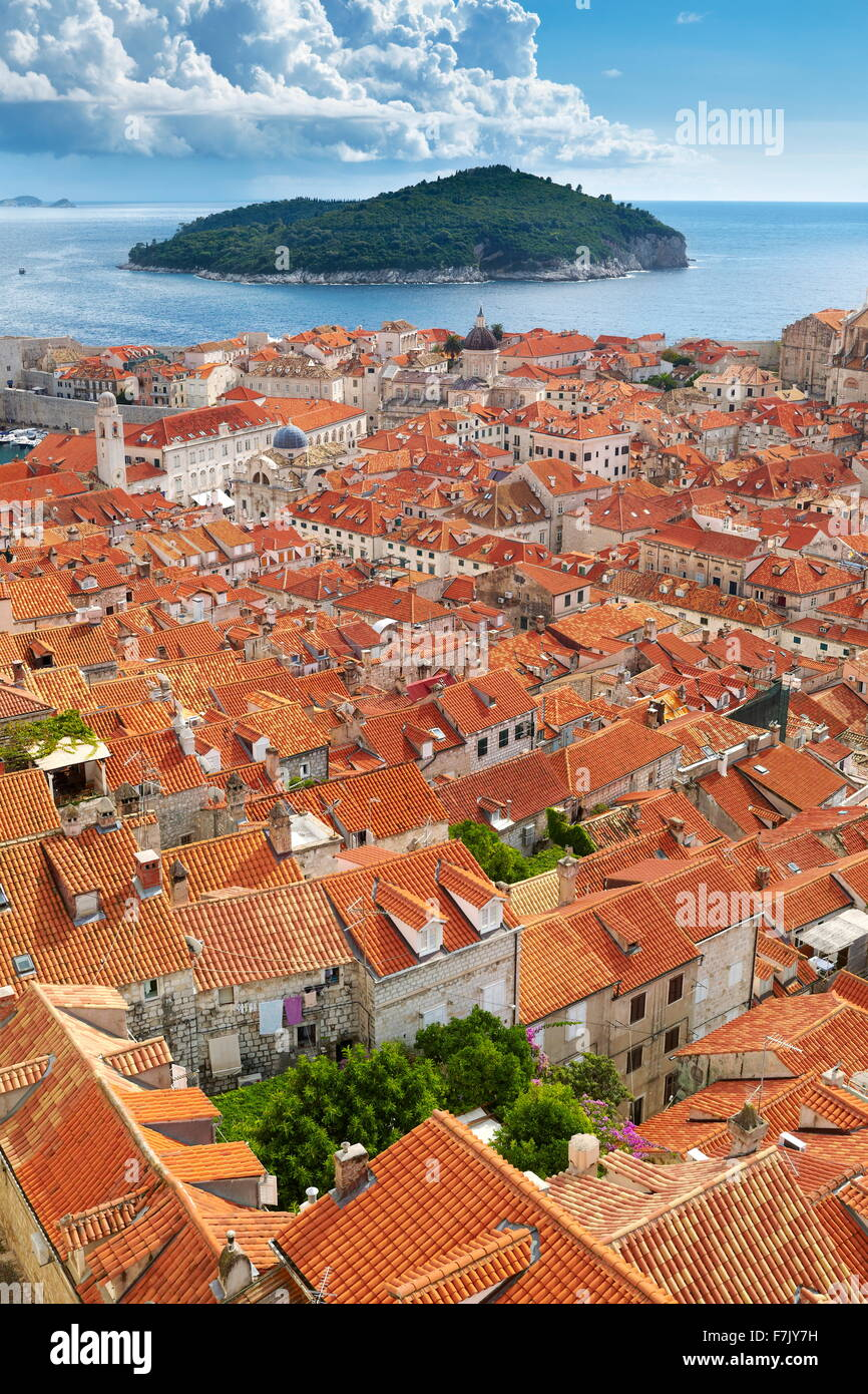 Dubrovnik Old Town, elevated view from City Walls, Croatia - Stock Image