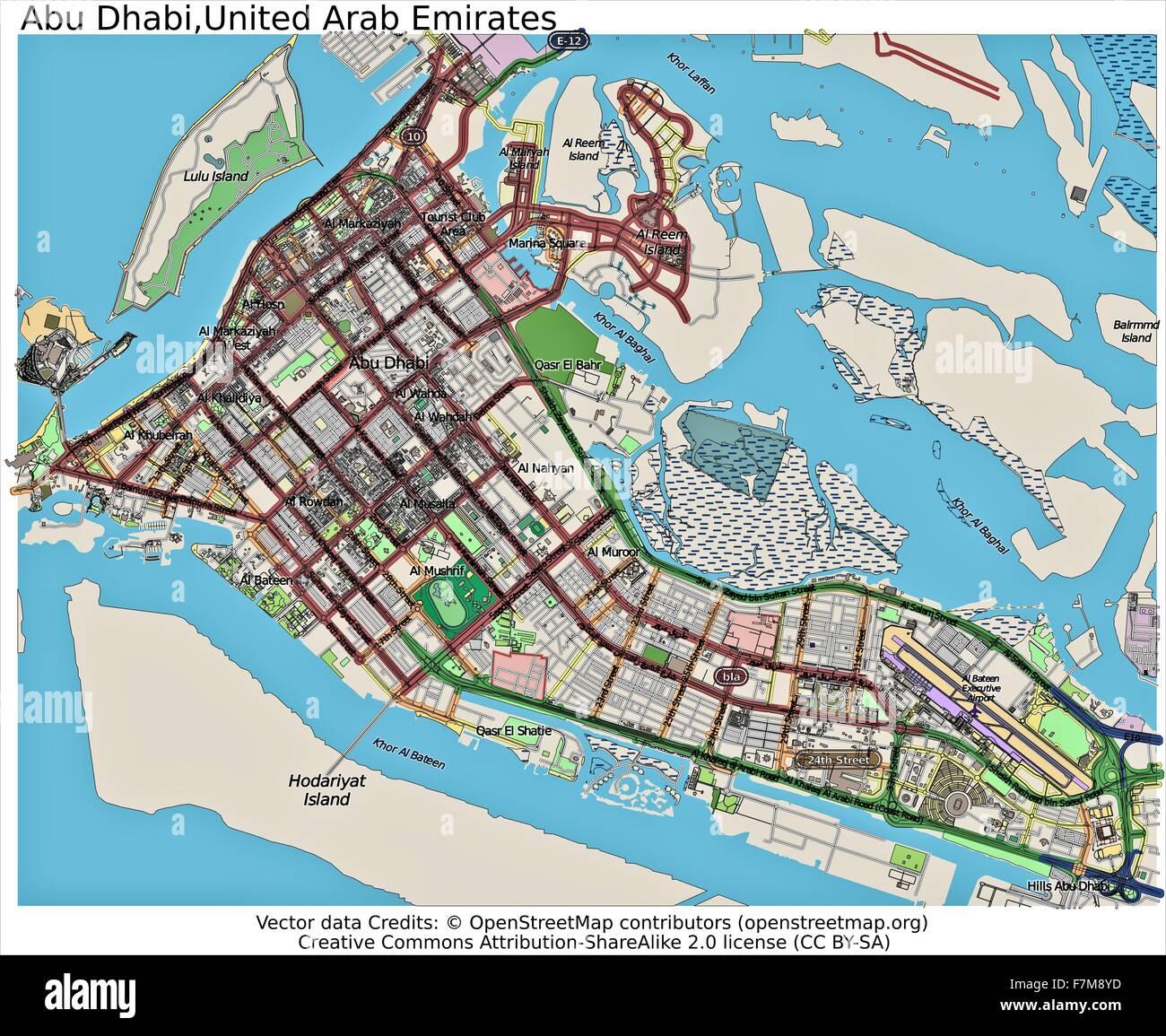 Abu Dhabi United Arab Emirates city map Stock Photo 90800513 Alamy