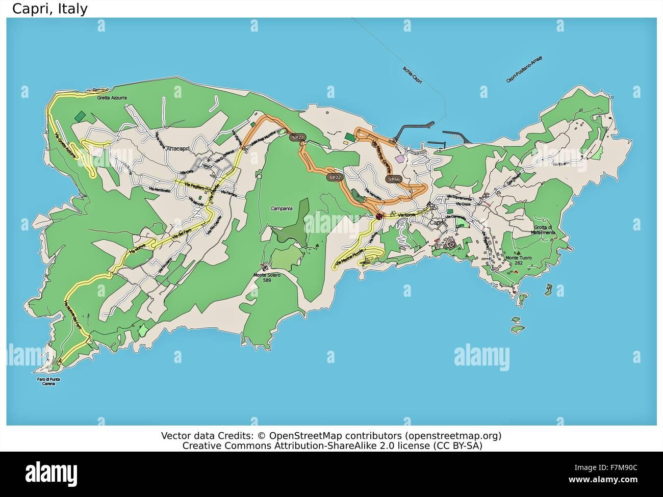 Capri Italy island city map Stock Photo 90800540 Alamy