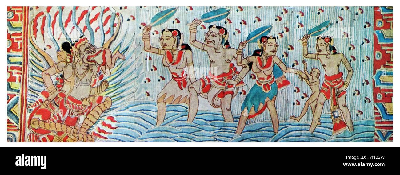 balinese painting depicting a popular legend, 19th century - Stock Image