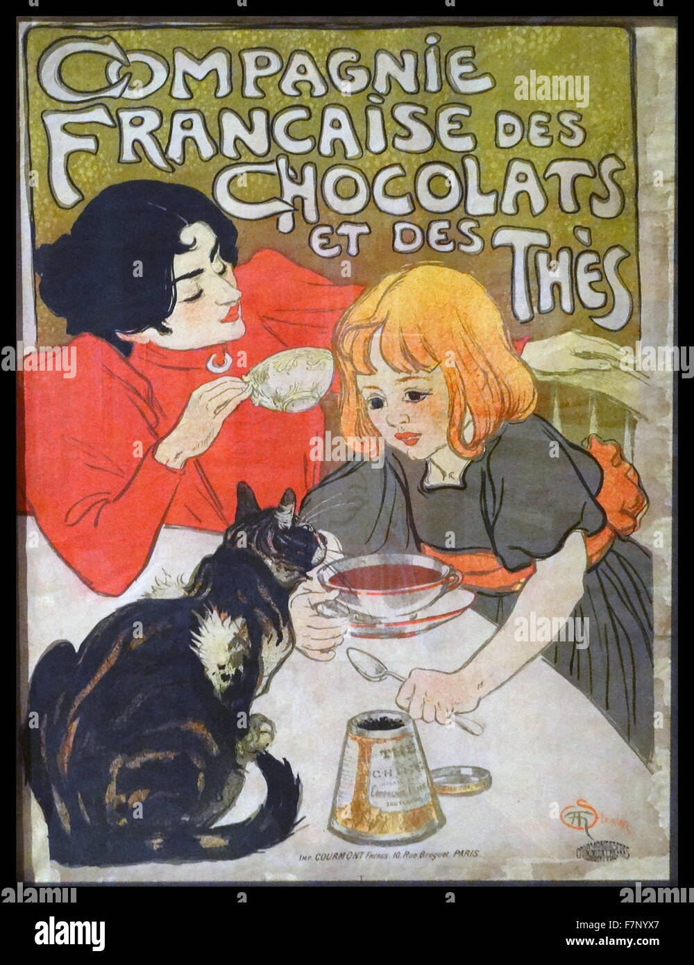 Poster advertising for French chocolates by Théophile Alexandre Steinlen (1859-1923) Swiss-born French Art - Stock Image