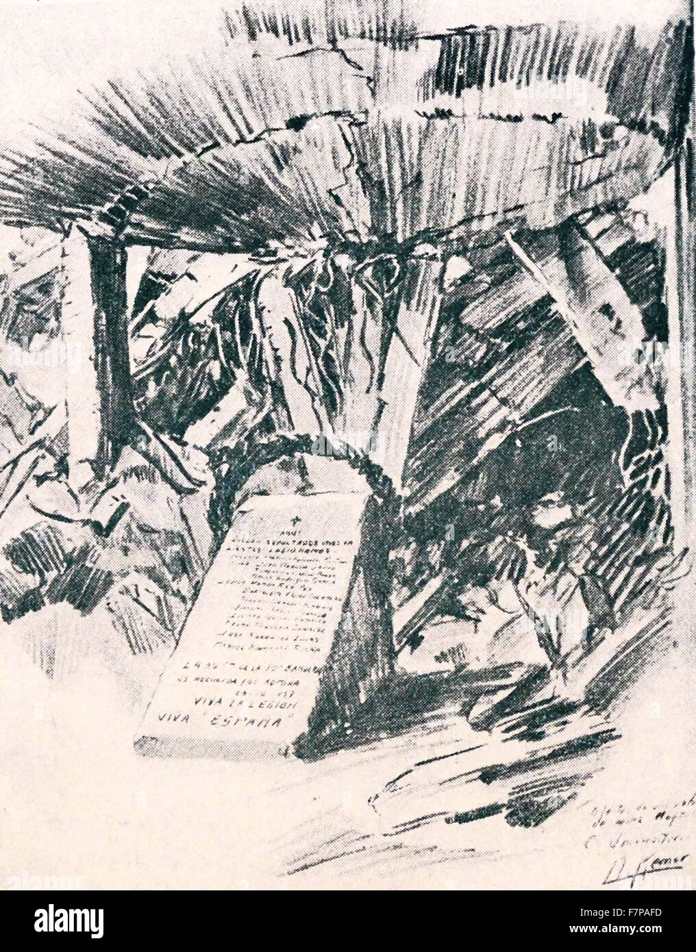 memorial at the Clinical Hospital destroyed by a shell in the siege of Madrid 1938. Drawn by Kemer, during the Spanish - Stock Image