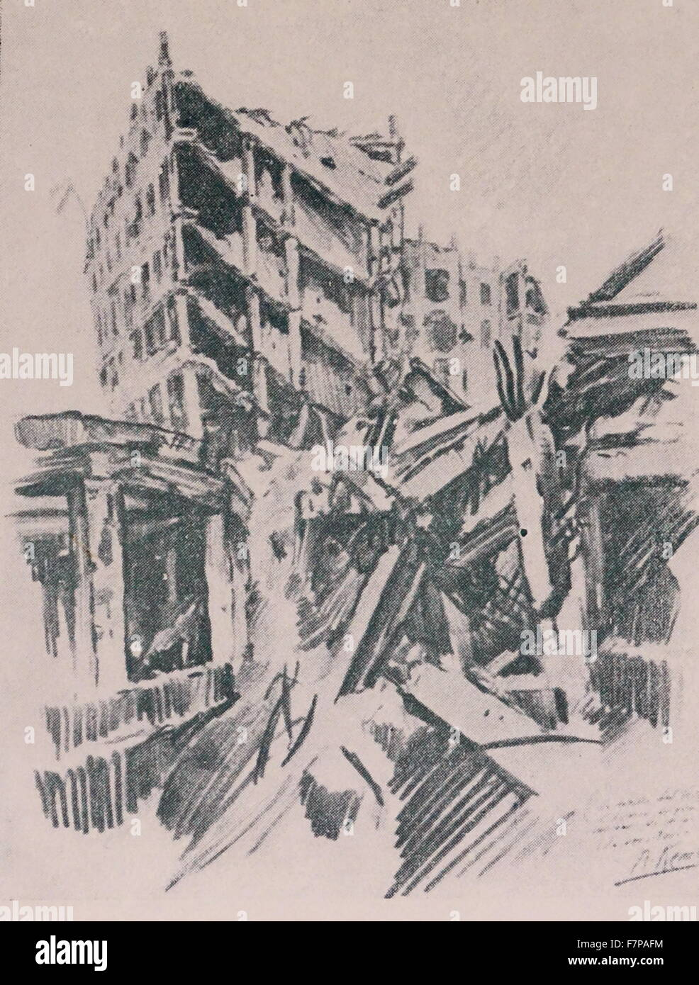 Remains of Clinical Hospital destroyed by a shell in the siege of Madrid 1938. Drawn by Kemer, during the Spanish - Stock Image