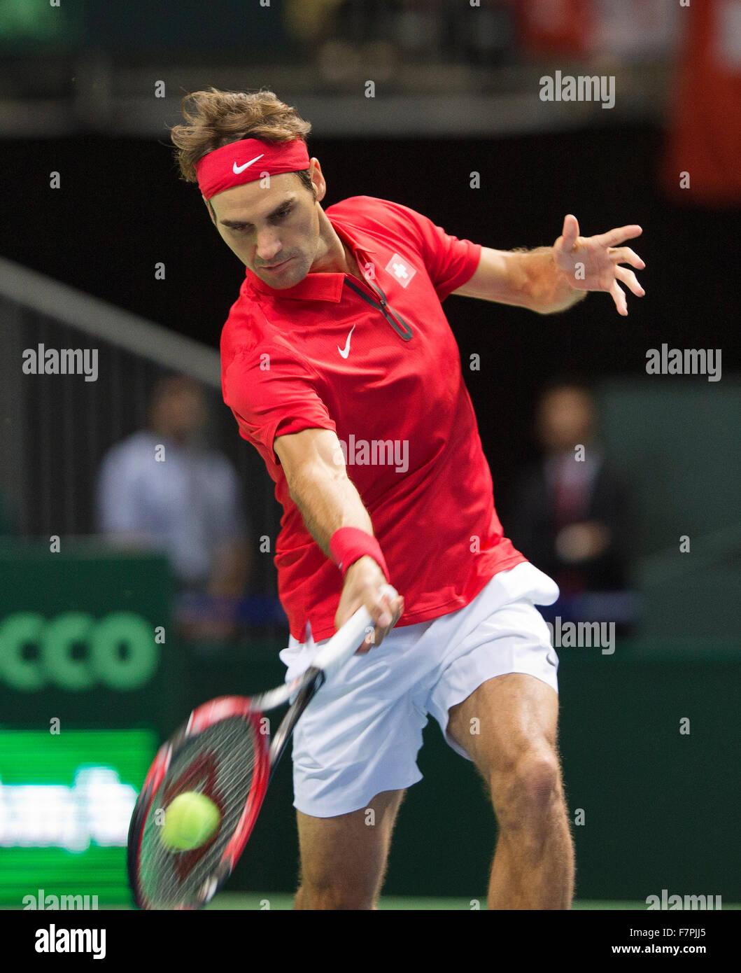 Switserland, Genève, September 18, 2015, Tennis,   Davis Cup, Switserland-Netherlands, Roger Federer (SUI) - Stock Image