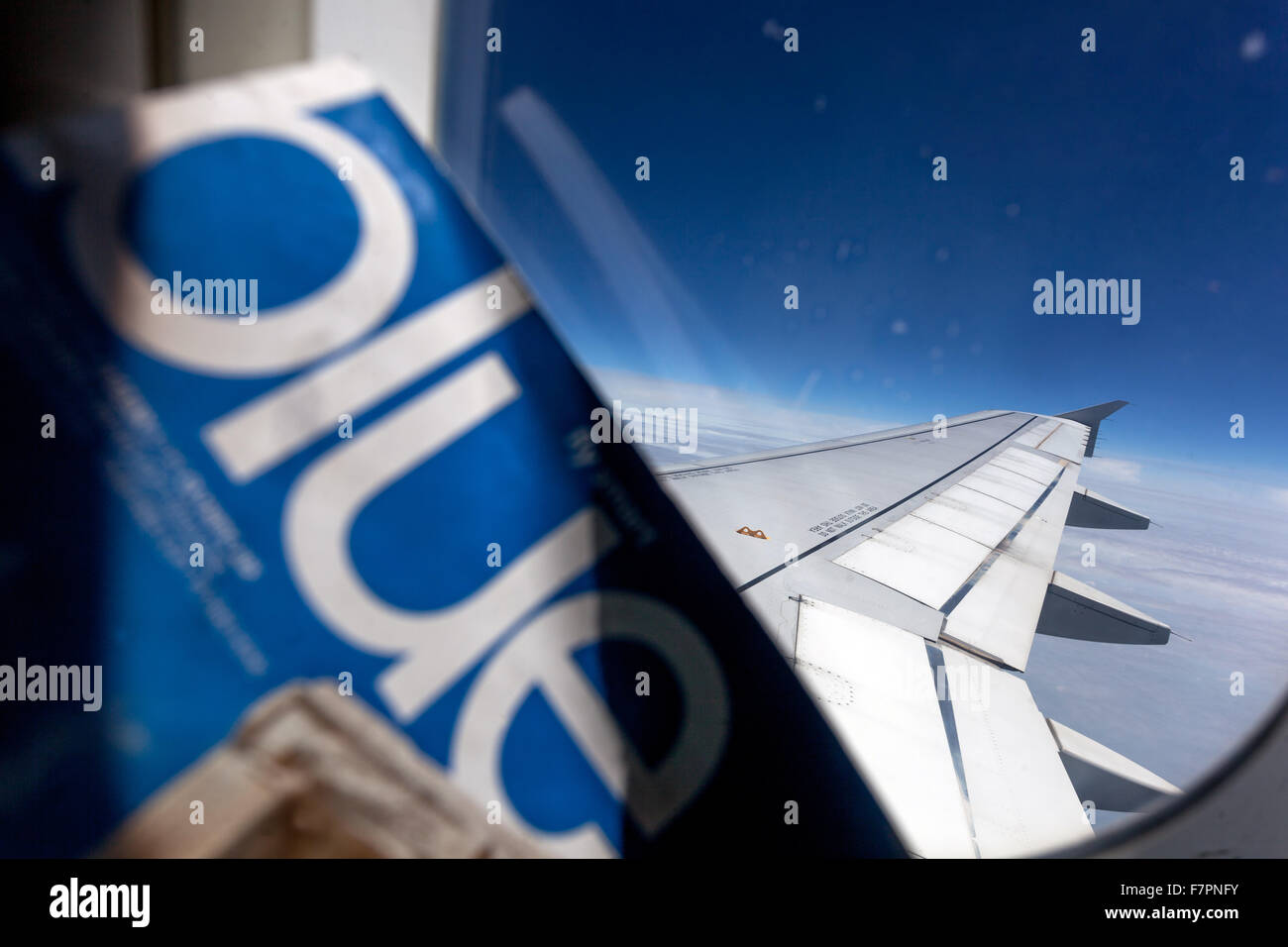 View from the Airbus A320, on the wing - Stock Image