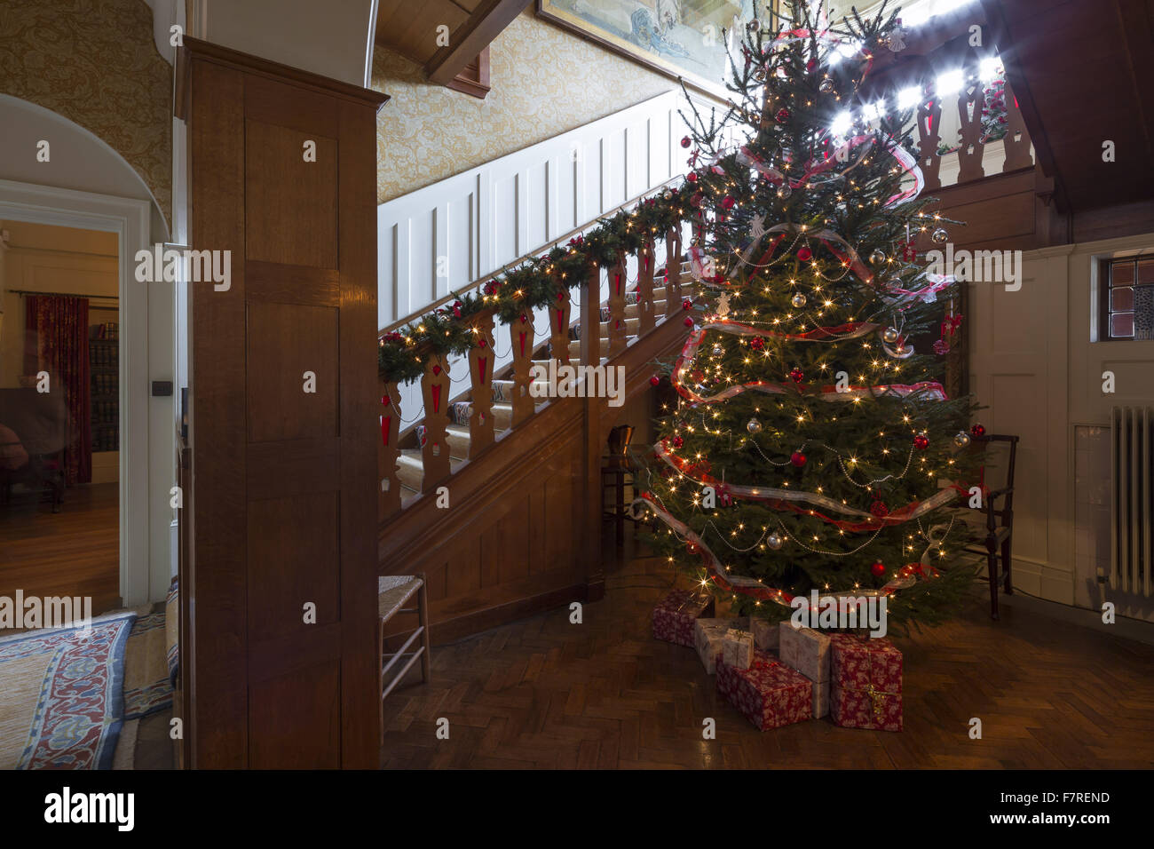 A Decorated Christmas Tree In The Staircase Hall At Standen House And Garden West Sussex