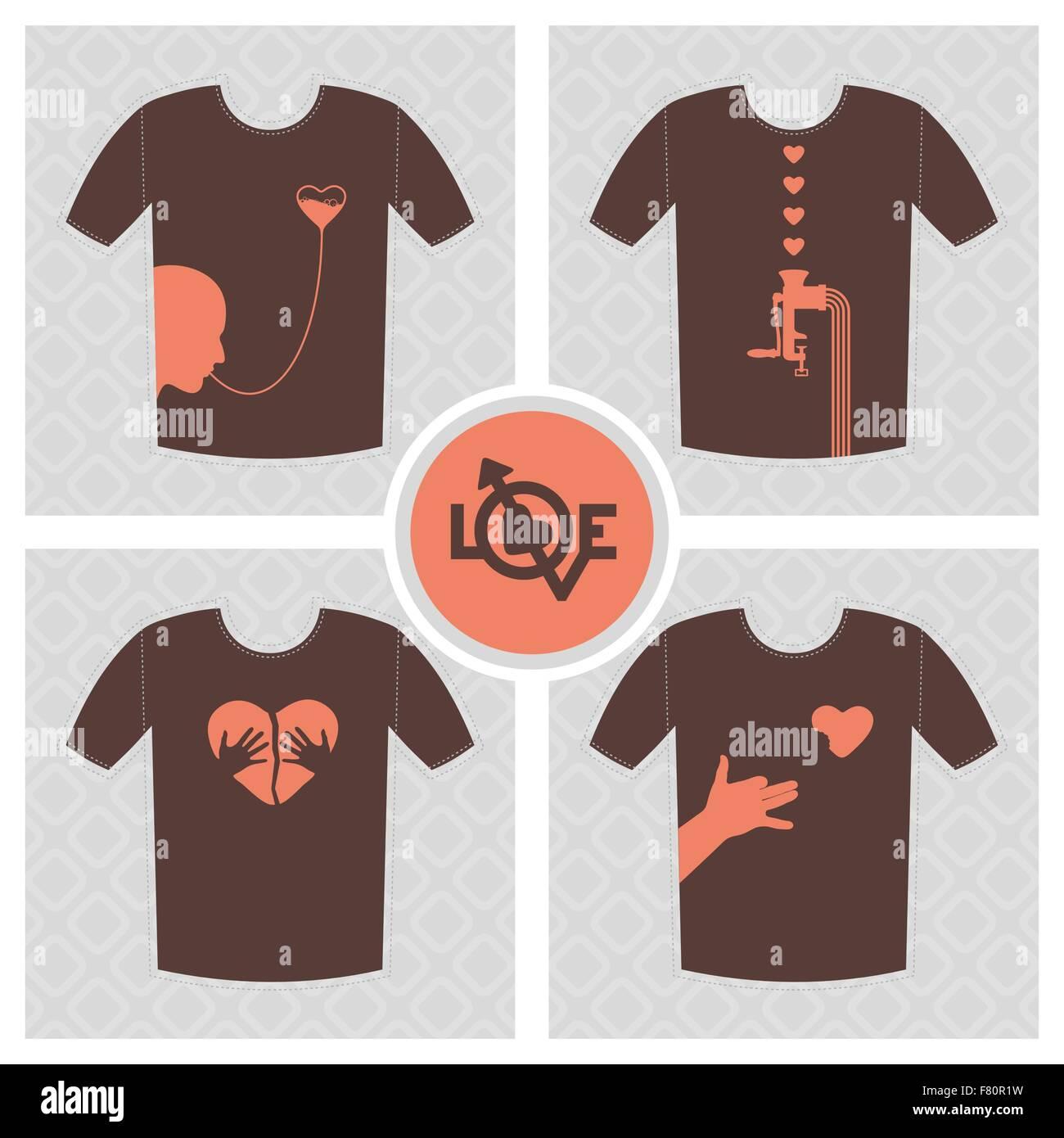 Conceptual set of t-shirt print vector; logo design elements, unrequited love concept with broken heart. - Stock Image