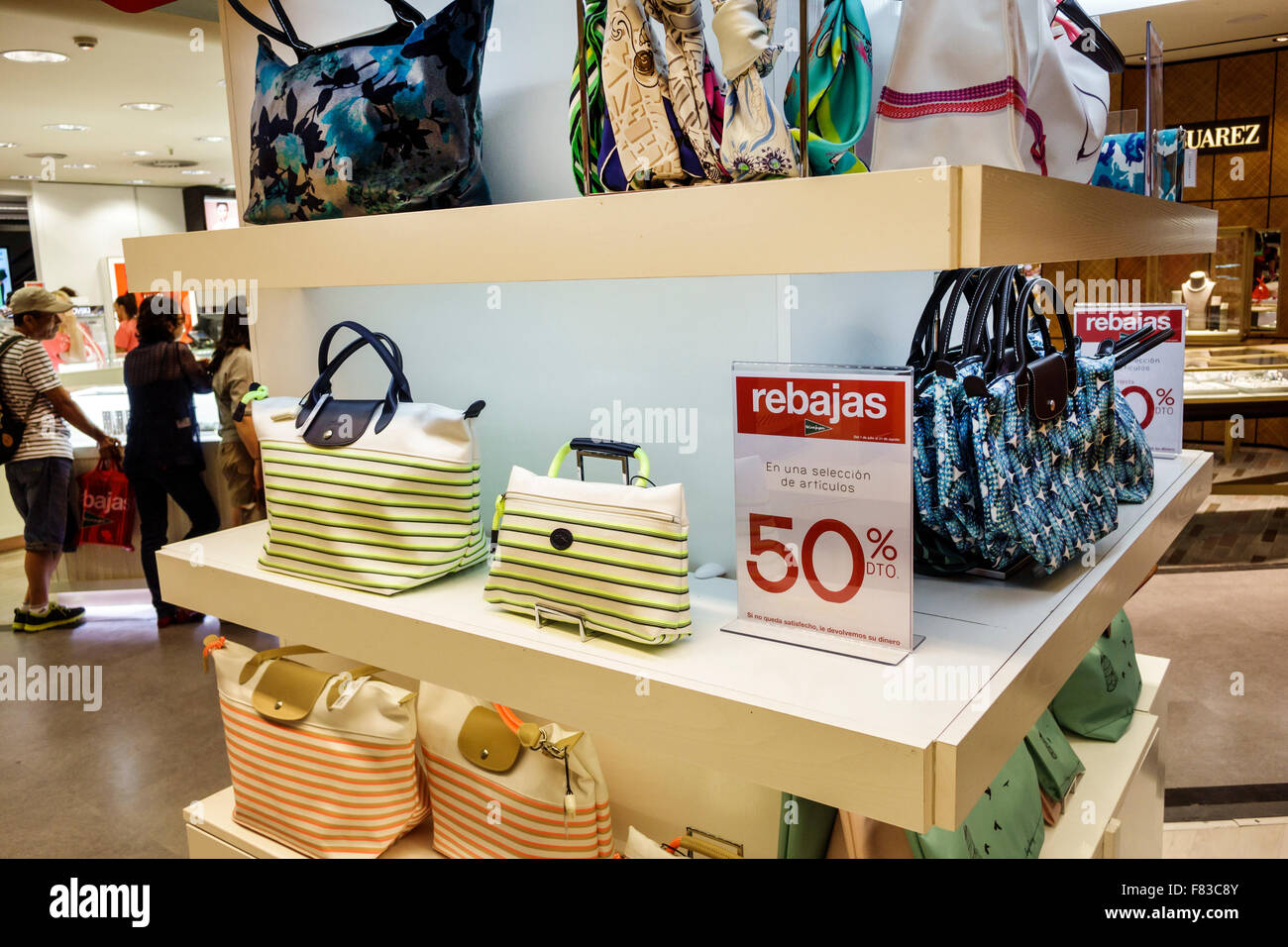 33a12214555 Spain Europe Spanish Hispanic Madrid Centro Plaza de Callao El Corte Ingles  department store shopping inside interior retail display sale Longchamp Fr