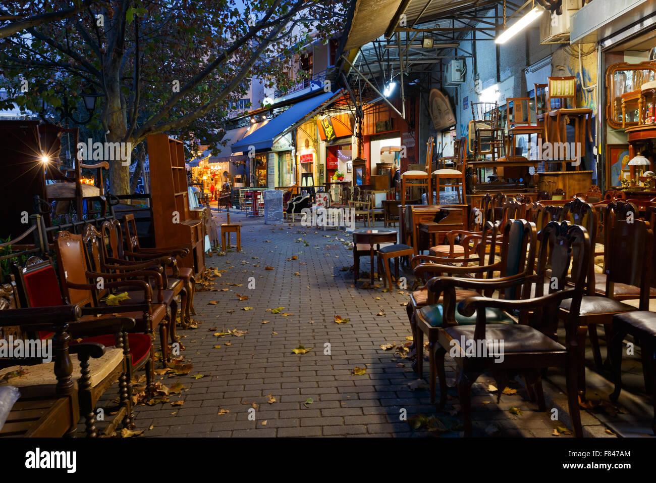 Antique furniture shop in the flea market in the Monastiraki area in Plaka,  Athens - Antique Furniture Shop In The Flea Market In The Monastiraki Area In