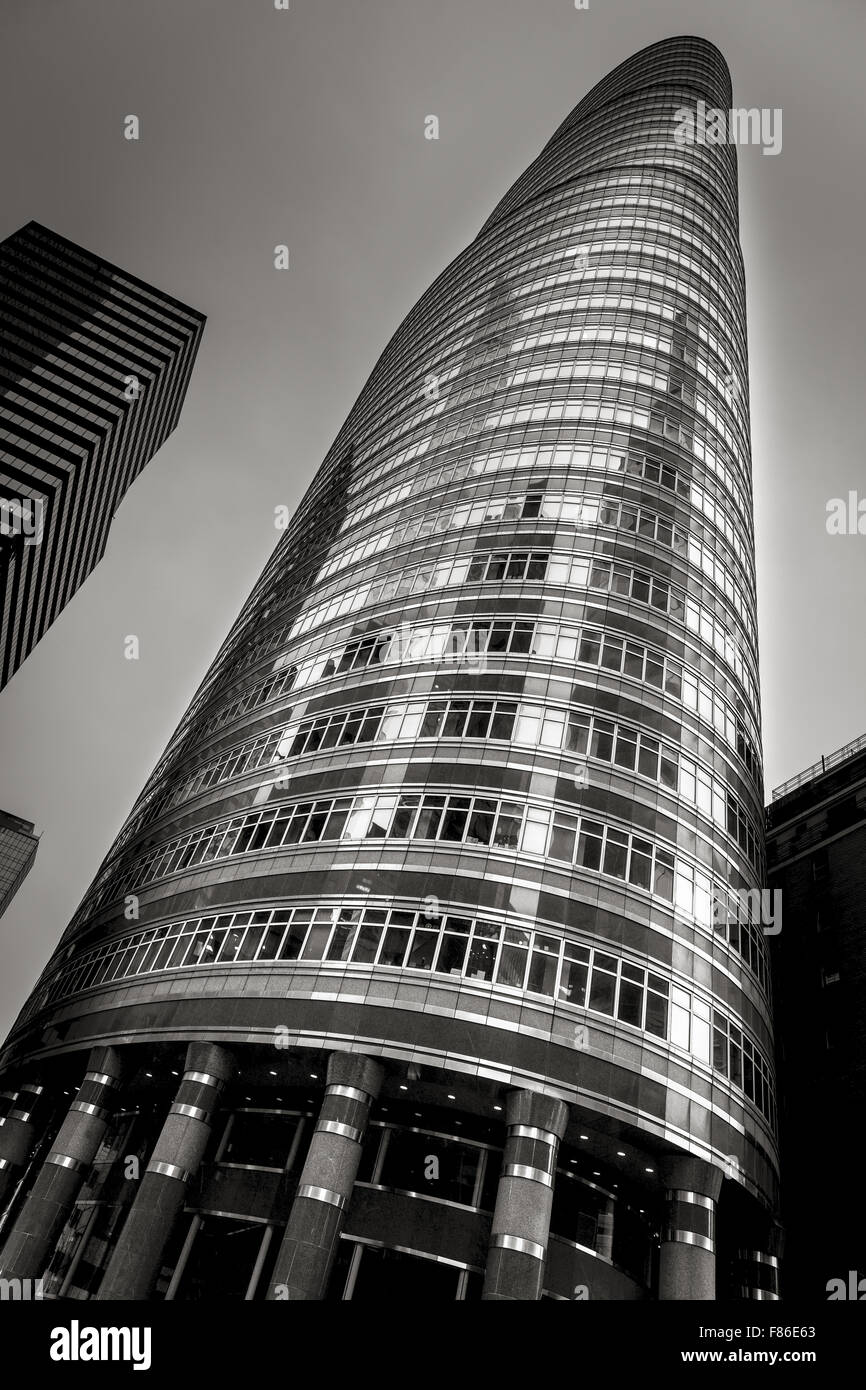 Street level view of the postmodern Lipstick Building (by Philip Johnson and John Burgee) in Midtown Manhattan New - Stock Image