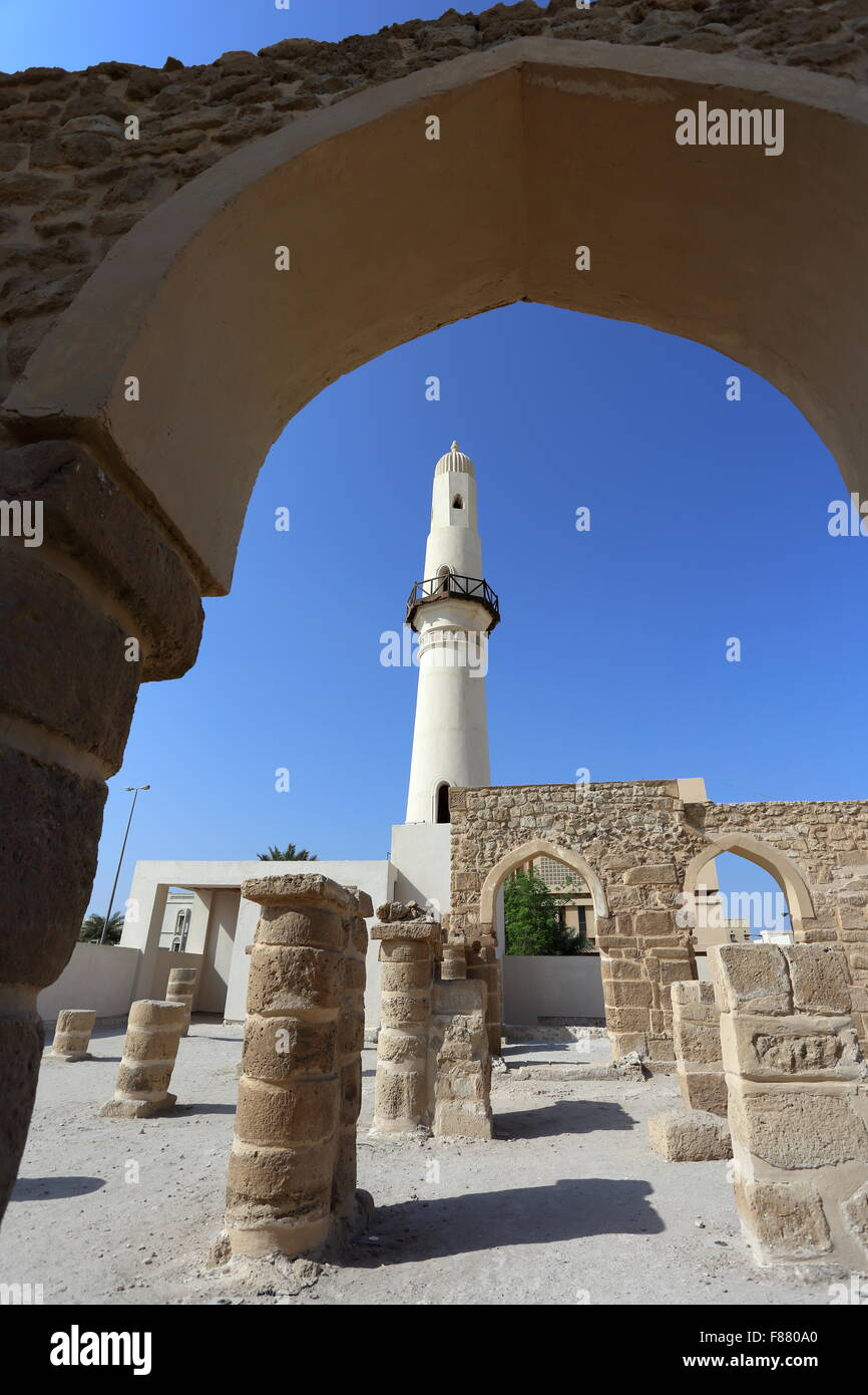 Al Khamis Mosque, the oldest mosque in the Kingdom of  Bahrain - Stock Image