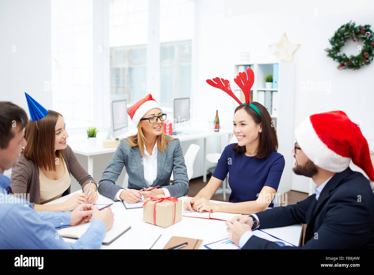 Modern business people working on Christmas day Stock Photo ...
