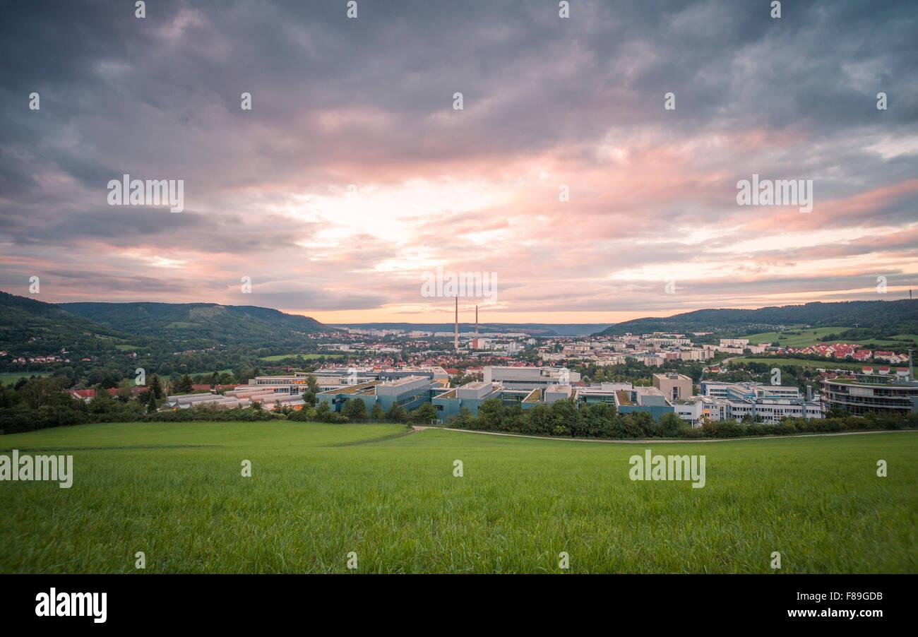 Jena at sunrise, Thuringia, Germany - Stock Image