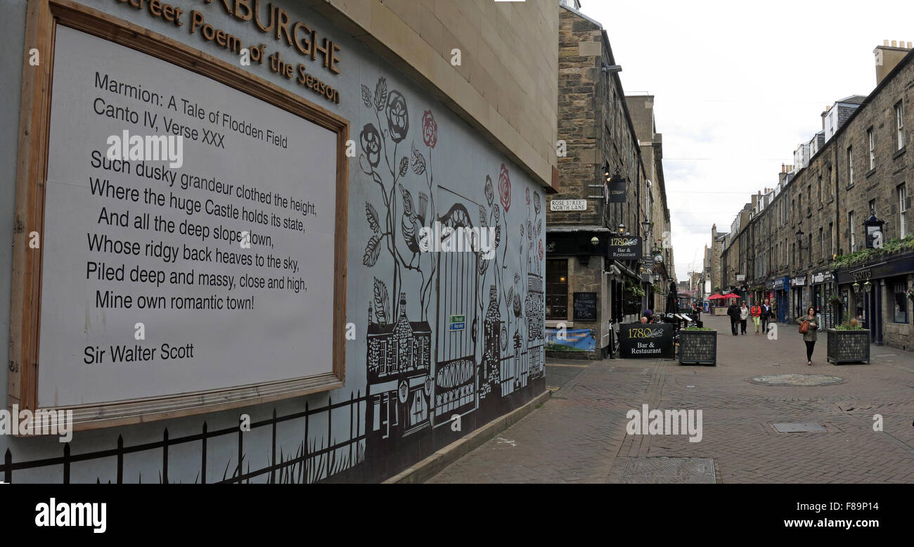 St,street,city,centre,capital,verse,Scottish,Scots,UK,poem,of,the,season,literary,writing,art,artist,writer,wall,mounted,essential,Princes,Foundation,Unesco,poets,vinyl,sheets,words,verse,Rose Street,Poem of the season,street art,Essential Edinburgh,Princes Foundation,Rose Street Poets,GoTonySmith,Buy Pictures of,Buy Images Of