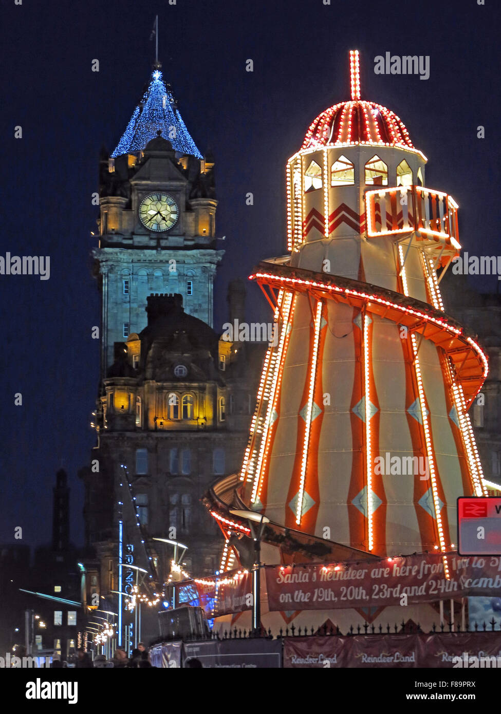 GB,Great,Britain,Night,time,nighttime,dusk,slide,hotel,Balmoral,Hotel,Clock,street,Mall,Princes Mall,Shopping,Xmas,Festive,Hogmanay,tourist,travel,lit,low,light,Helter,Skelter,winter,fun,entertainment,Scottish,Scotland,UK,Lothian,Lothians,Midlothian,New Year,Low light,Helter Skelter,GoTonySmith,Buy Pictures of,Buy Images Of