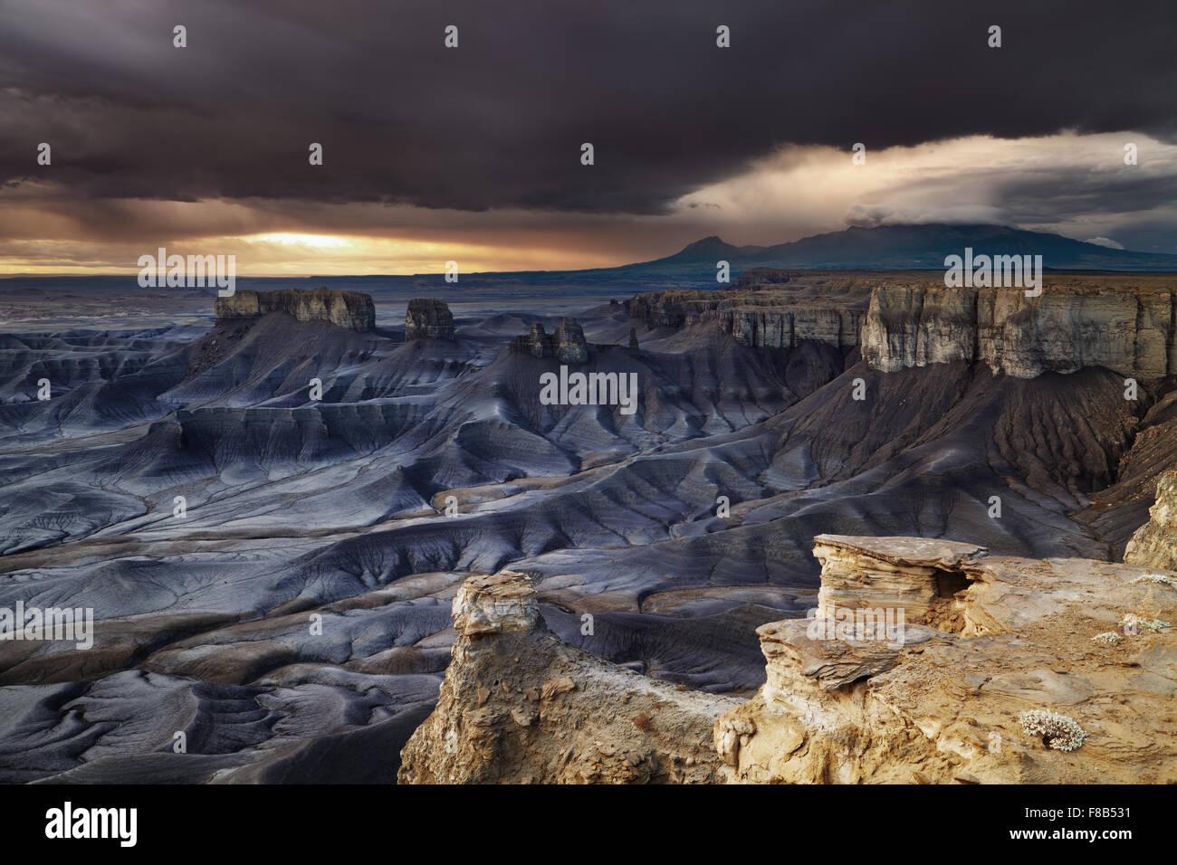 Moonscape Overlook at sunrise in Utah desert, USA - Stock Image