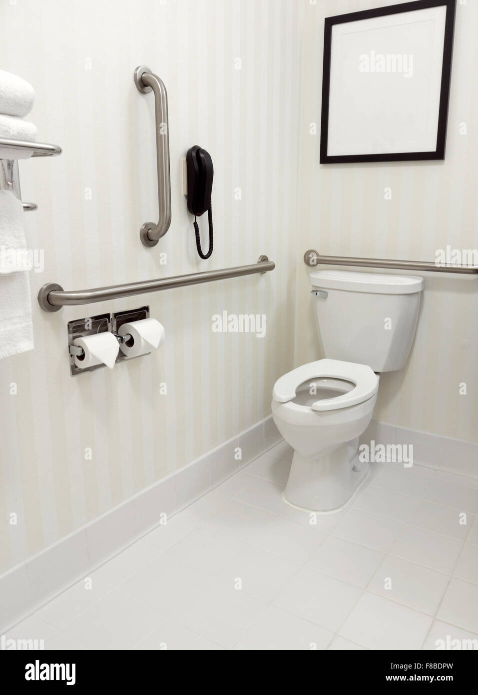 Handicapped disability access bathroom with grab bars and toilet ...