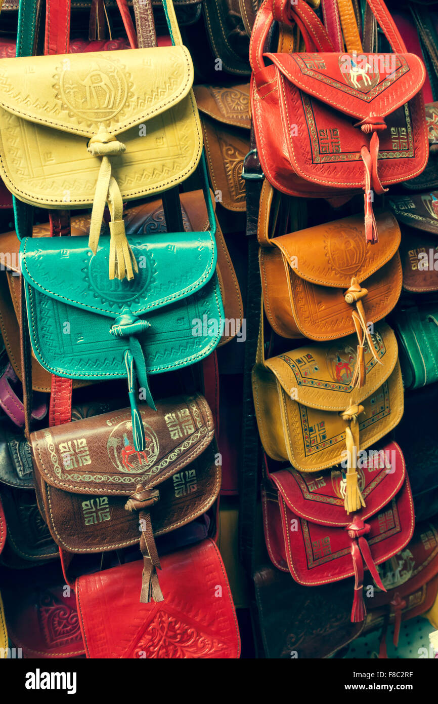 8a9091c1263c Colorful leather handbags collection on Tunis market Stock Photo ...