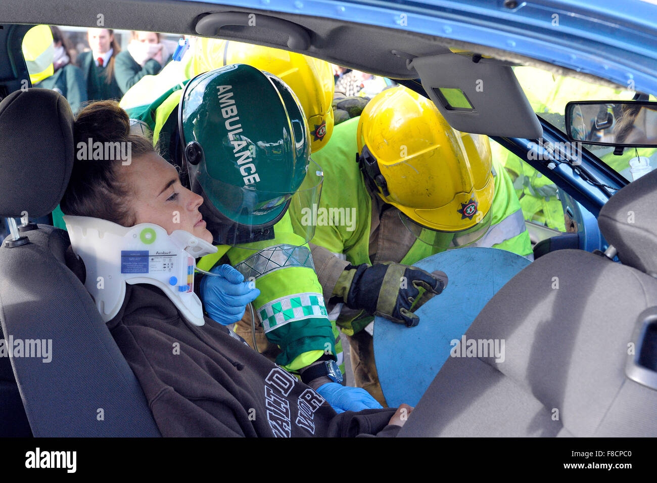 Emergency services car accident simulation in Londonderry, Northern ...