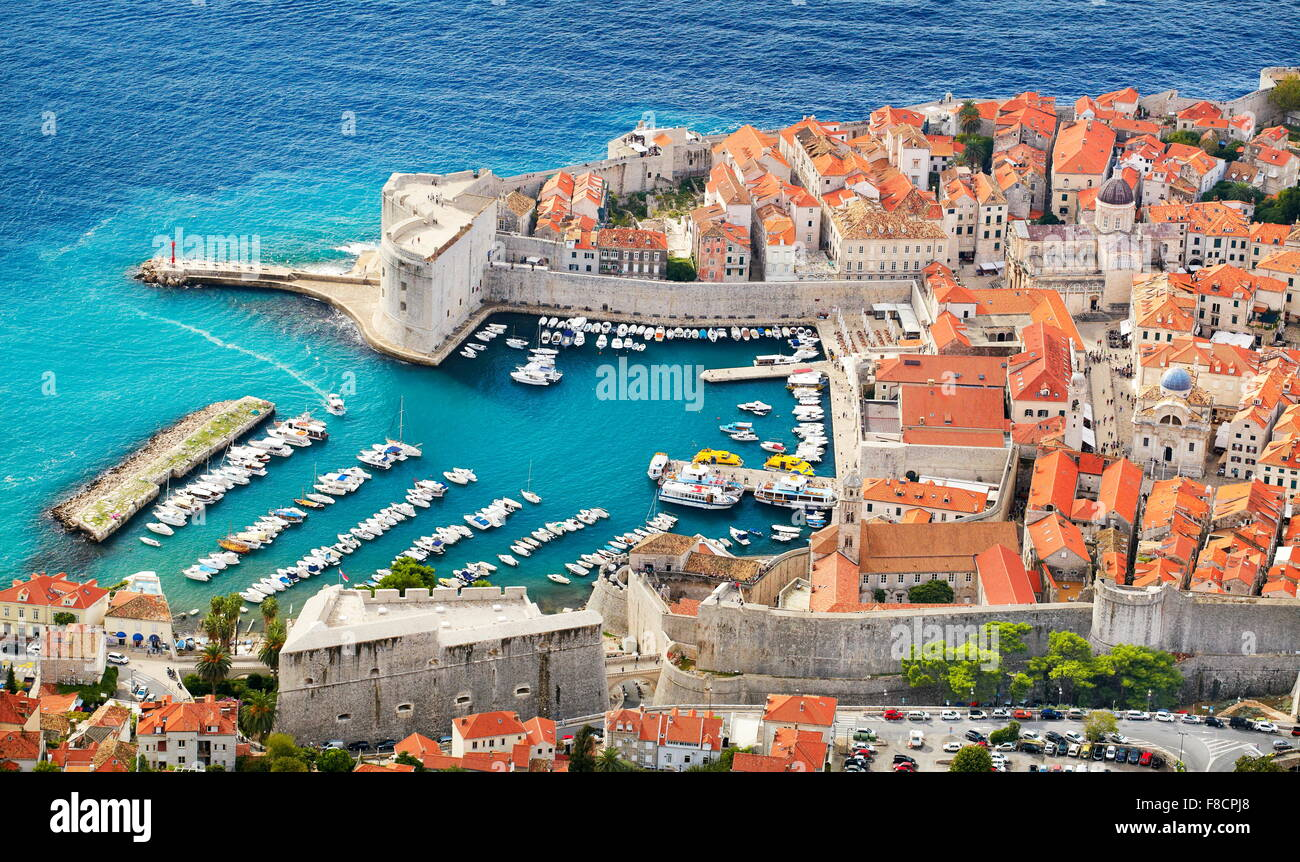 Dubrovnik old town, elevated view to harbor, Croatia Stock Photo