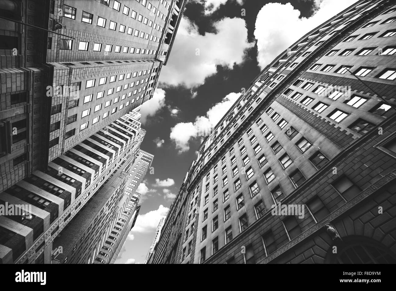 Black and white photo of buildings in Manhattan, NYC, USA. - Stock Image