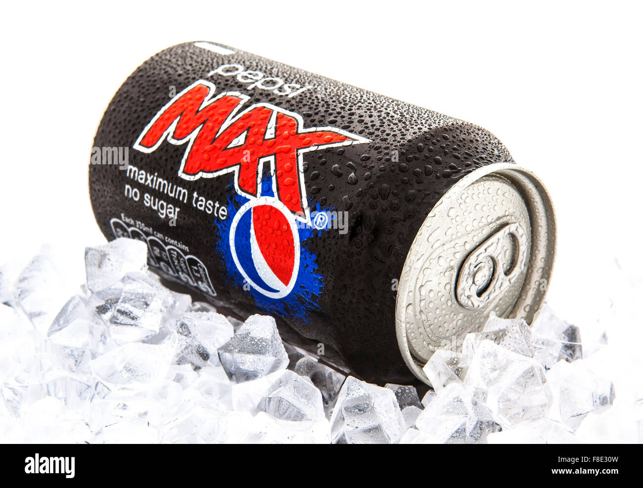Pepsi Max on a bed of Ice over a white background Stock Photo