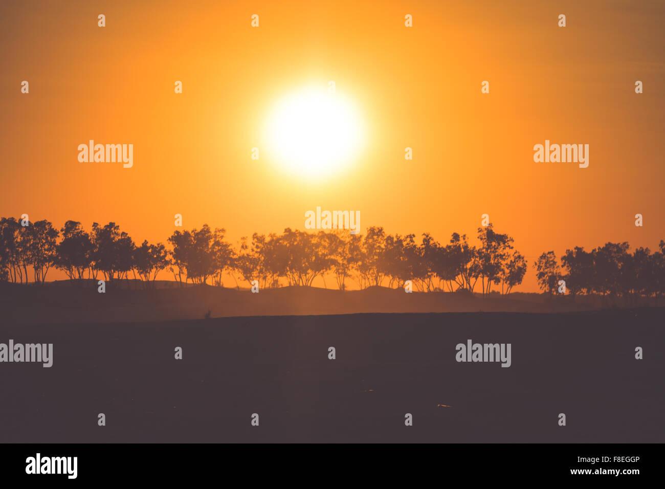 Sunset in the Sahara desert - Douz, Tunisia. - Stock Image