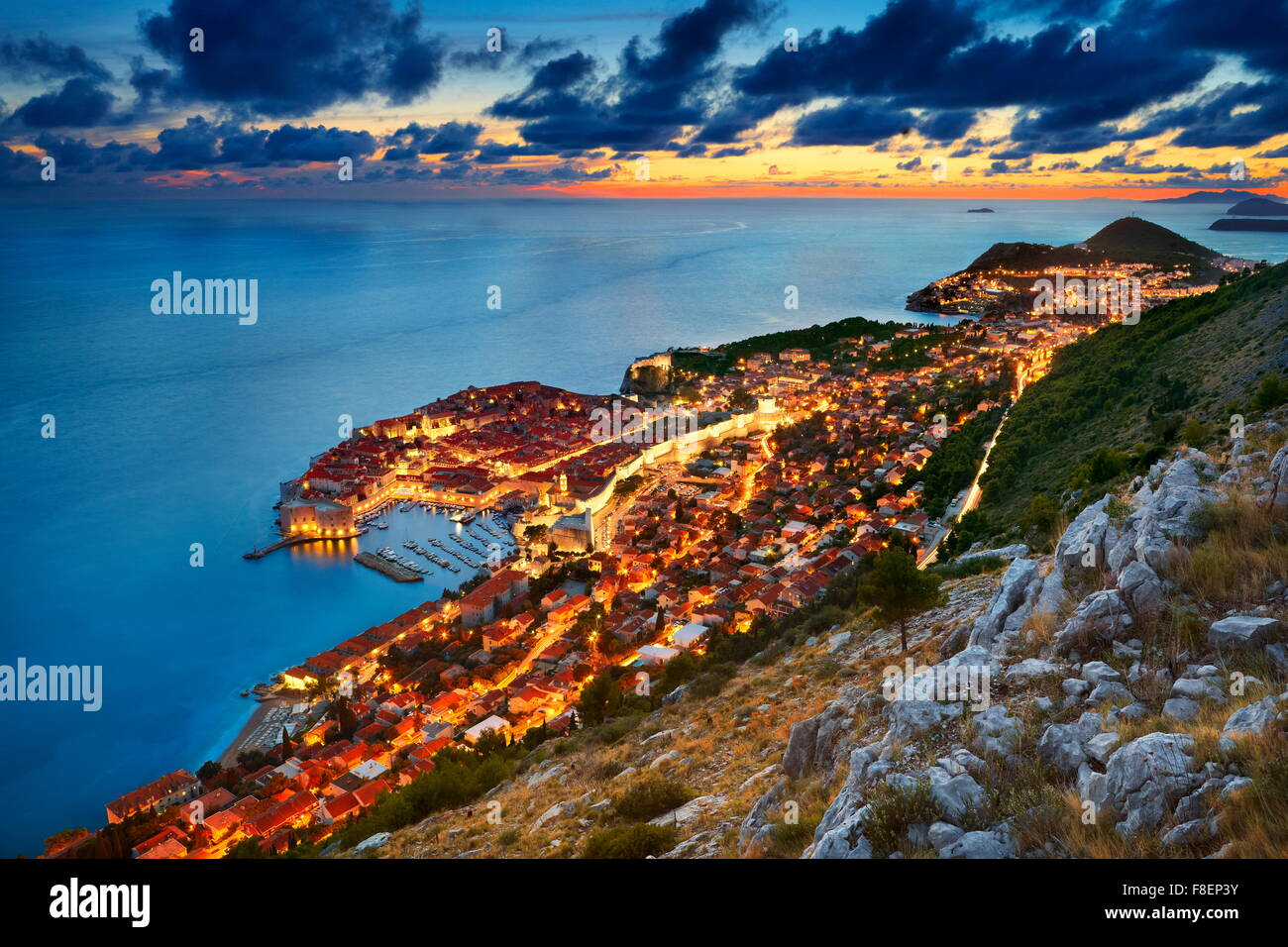 Dubrovnik -  view at Old Town City by night, Croatia - Stock Image