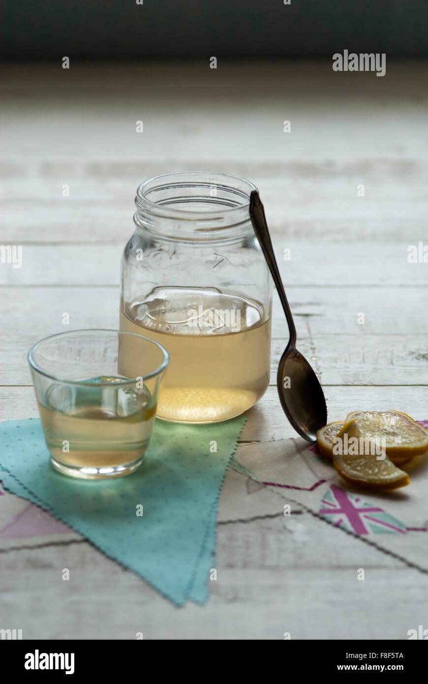Still life food image of Switchel - cider vinegar drink - Stock Image