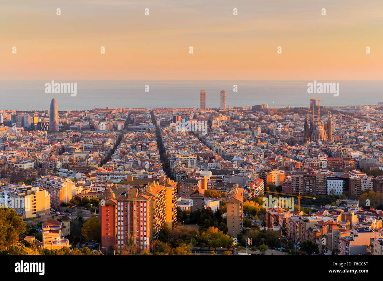 Barcelona skyline in the afternoon at Golden Hour - Stock Image