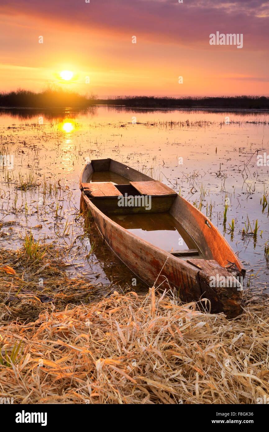 Sunrise landscape at Biebrza National Park, Poland - Stock Image