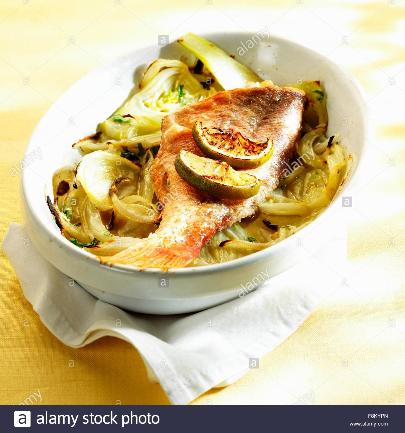 Red snapper on fennel with pastis - Stock Image