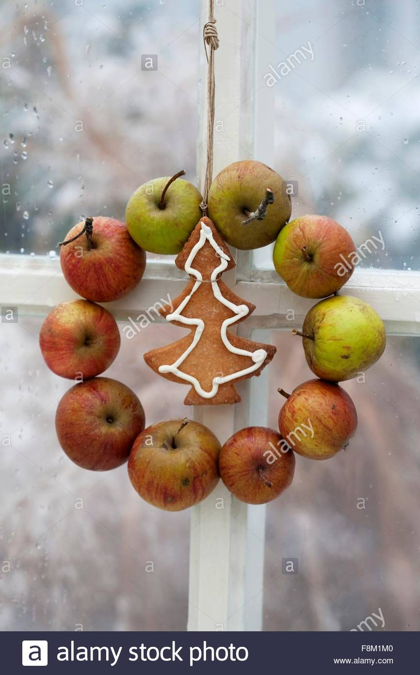 An apple wreath and a Christmas biscuit hanging in the window - Stock Image