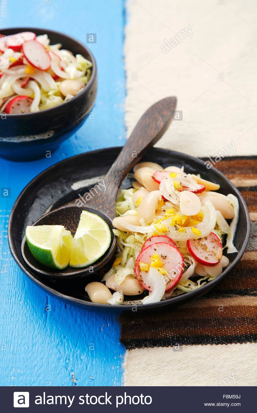 Lima bean salad with cabbage, Peru - Stock Image