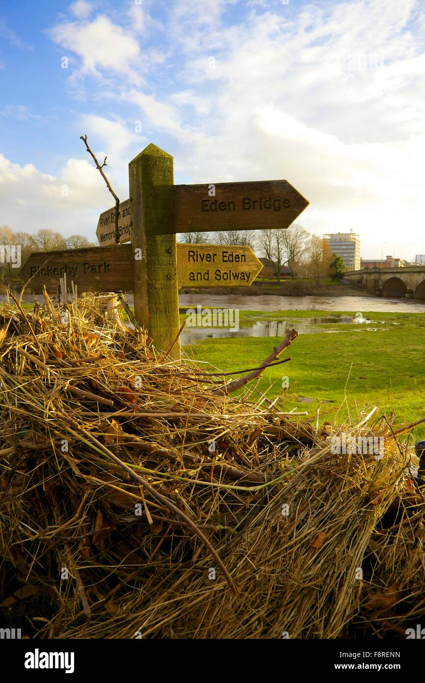 Aftermath of Carlisle Floods. 6th December 2015. Foot path sign showing flotsam illustrating height of flooded River - Stock Image