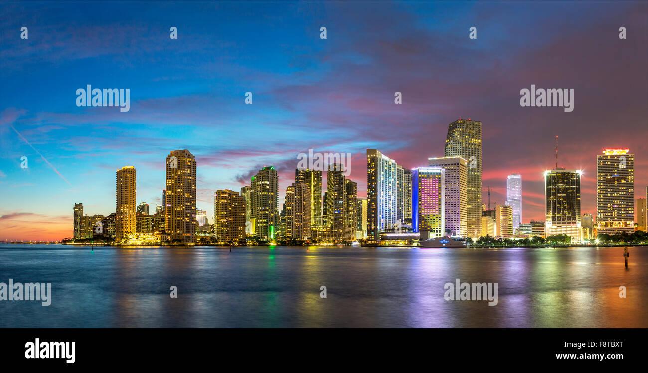USA, Florida, Miami skyline at dusk - Stock Image