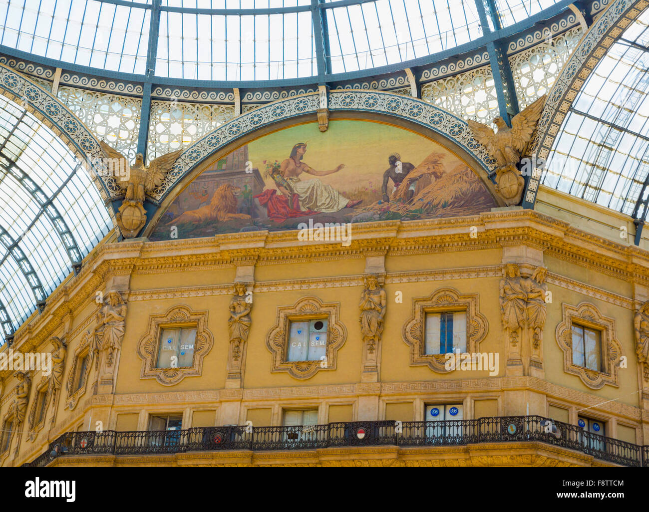 Milan, Milan Province, Lombardy, Italy.  Galleria Vittorio Emanuele II shopping arcade. Allegorical fresco representing - Stock Image