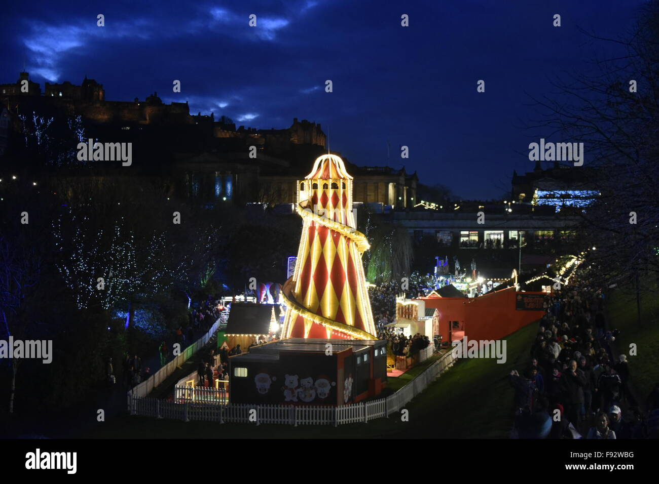 Edinburgh, Scotland, UK. 13th December, 2015. Shoppers throng to the Christmas Market in Princes Street Gardens, - Stock Image