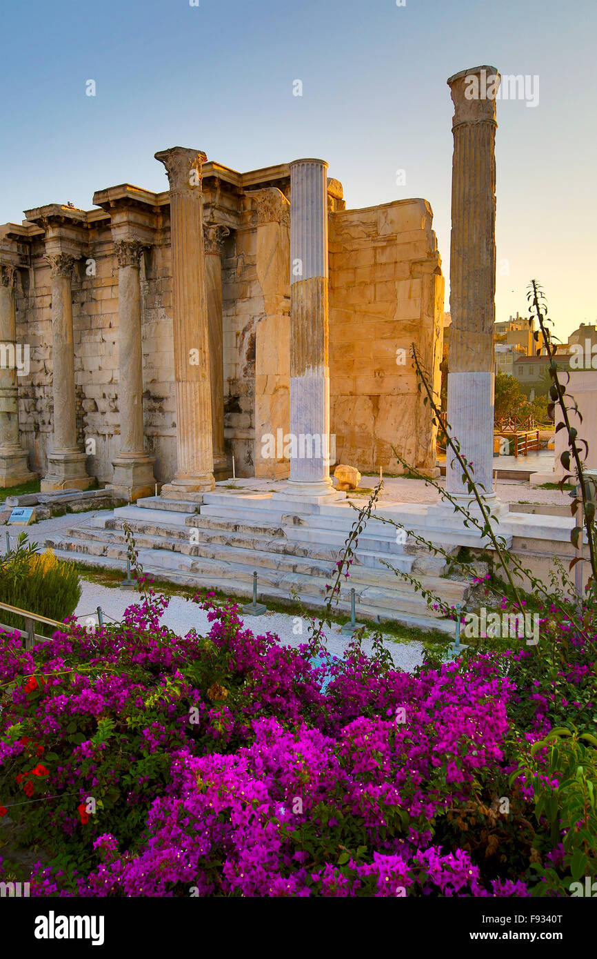 Remains of the Hadrian's Library and the old mosque in Monastiraki square in Athens, Greece - Stock Image