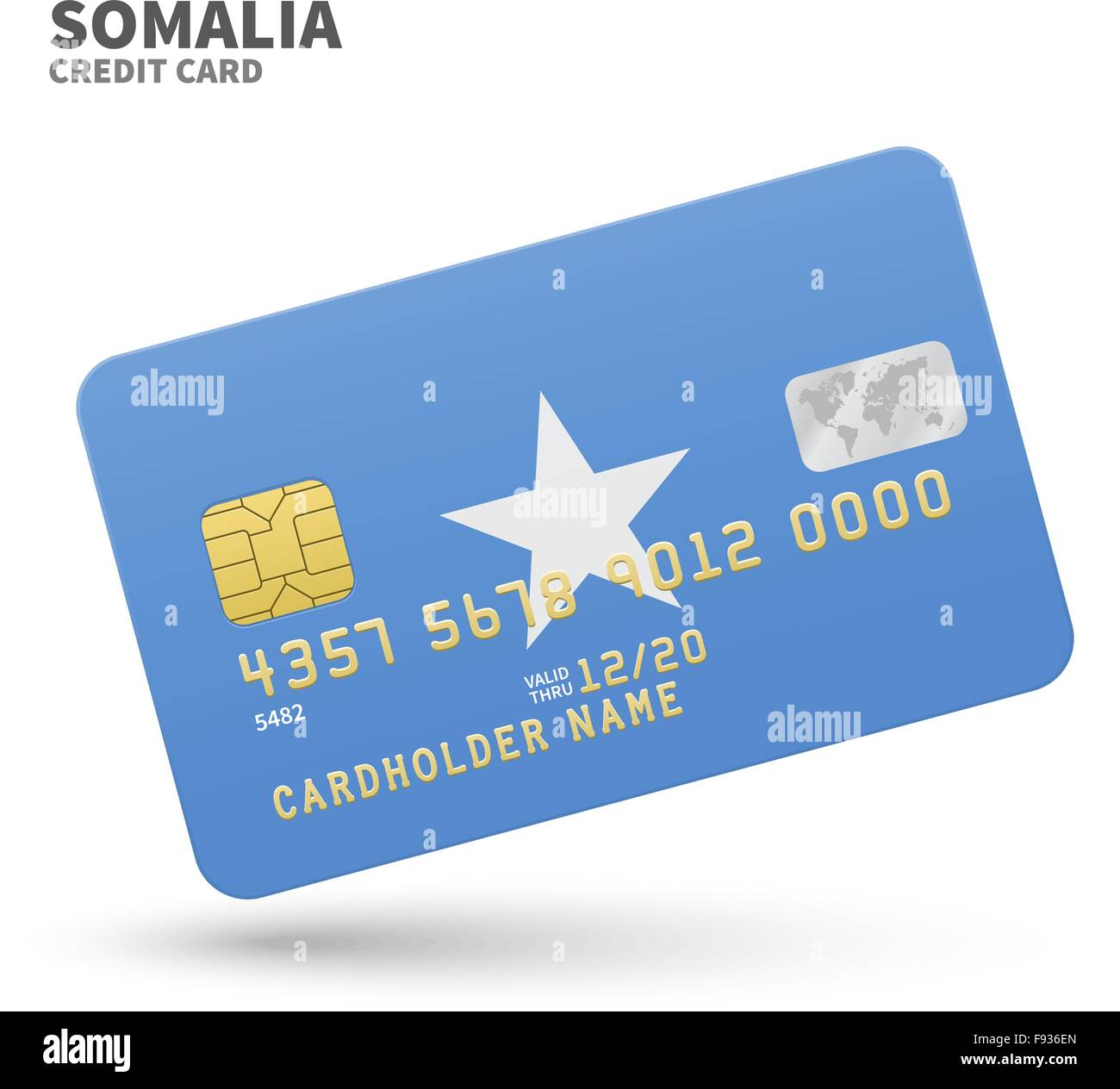 Credit card with Somalia flag background for bank, presentations and ...