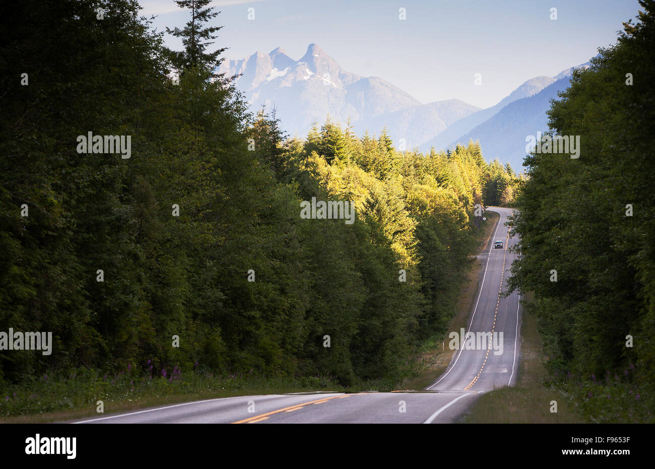 Mountian views along hwy 19 north of Woss, before Nimpkish Lake - Stock Image