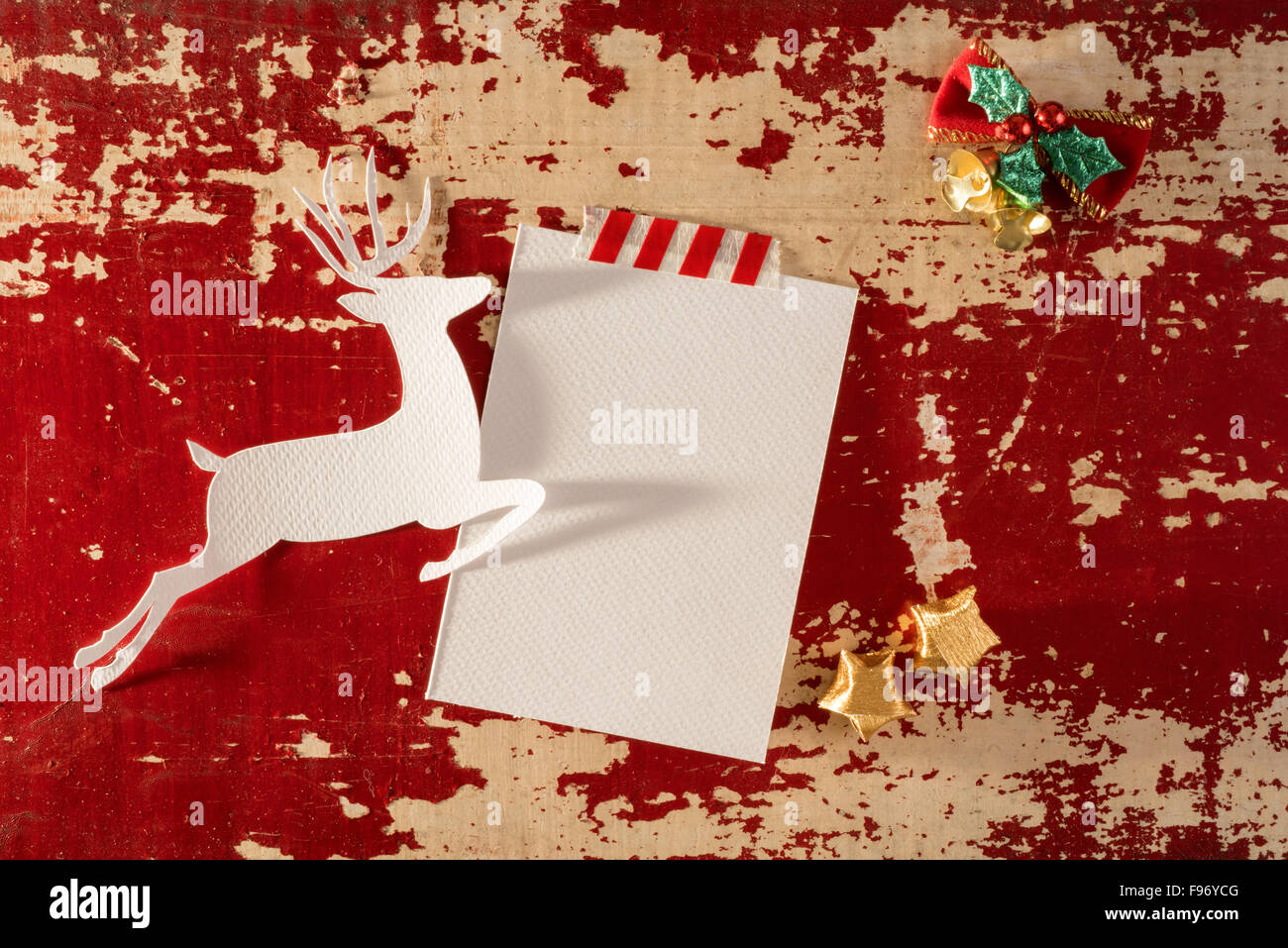 Christmas greeting card top view template mockup reindeer christmas greeting card top view template mockup reindeer silhouette with empty paper note and decoration on vintage wood m4hsunfo