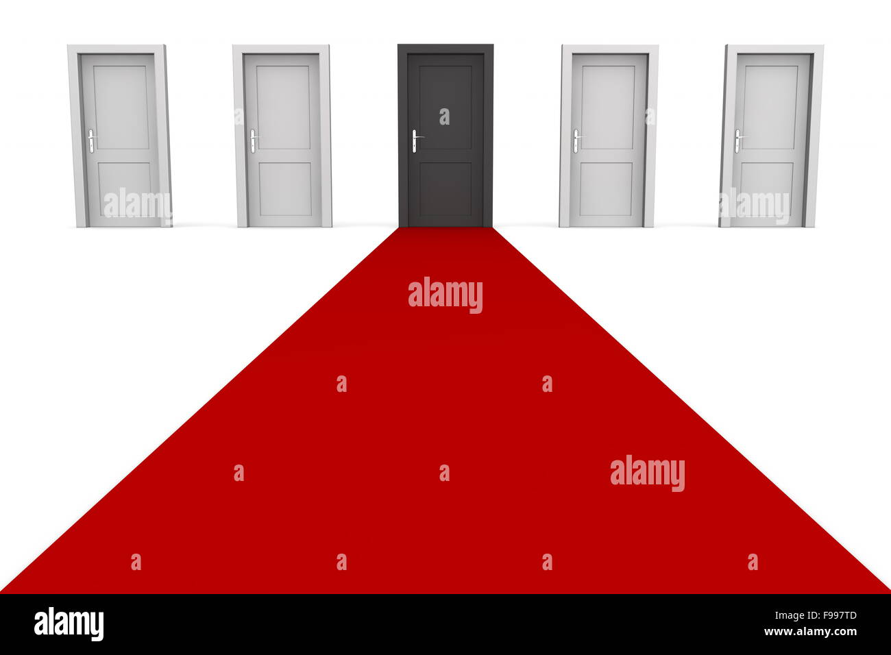 Five Doors and a Red Carpet - Black - Stock Image