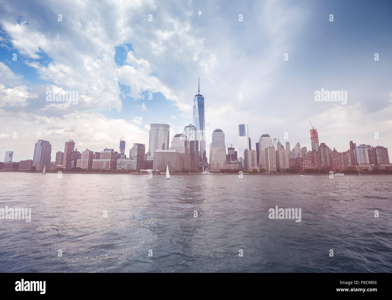 Vintage toned picture of New York waterfront before rain, USA. - Stock Image