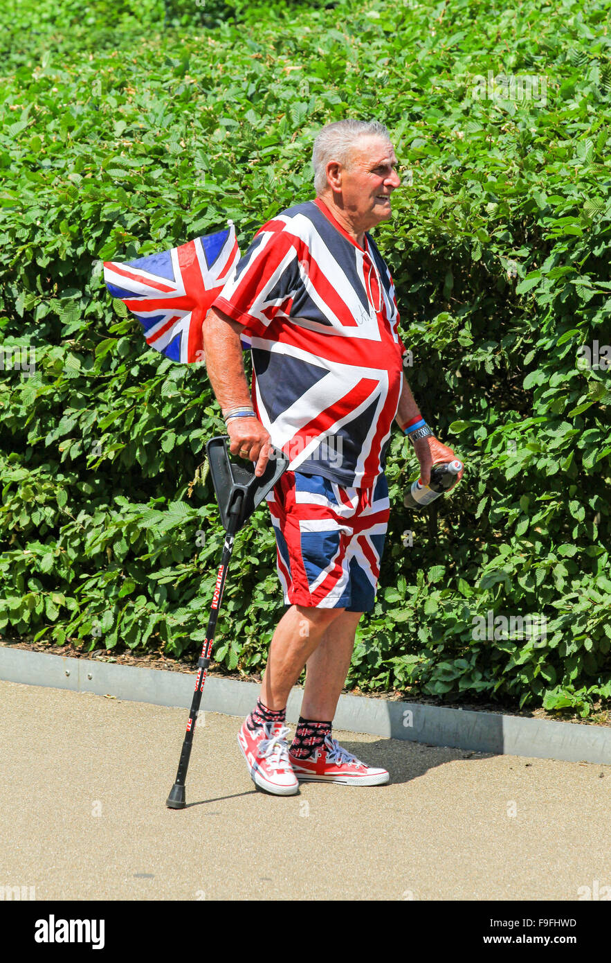 A man dressed from head to foot in Union Jack flags London England UK Stock Photo