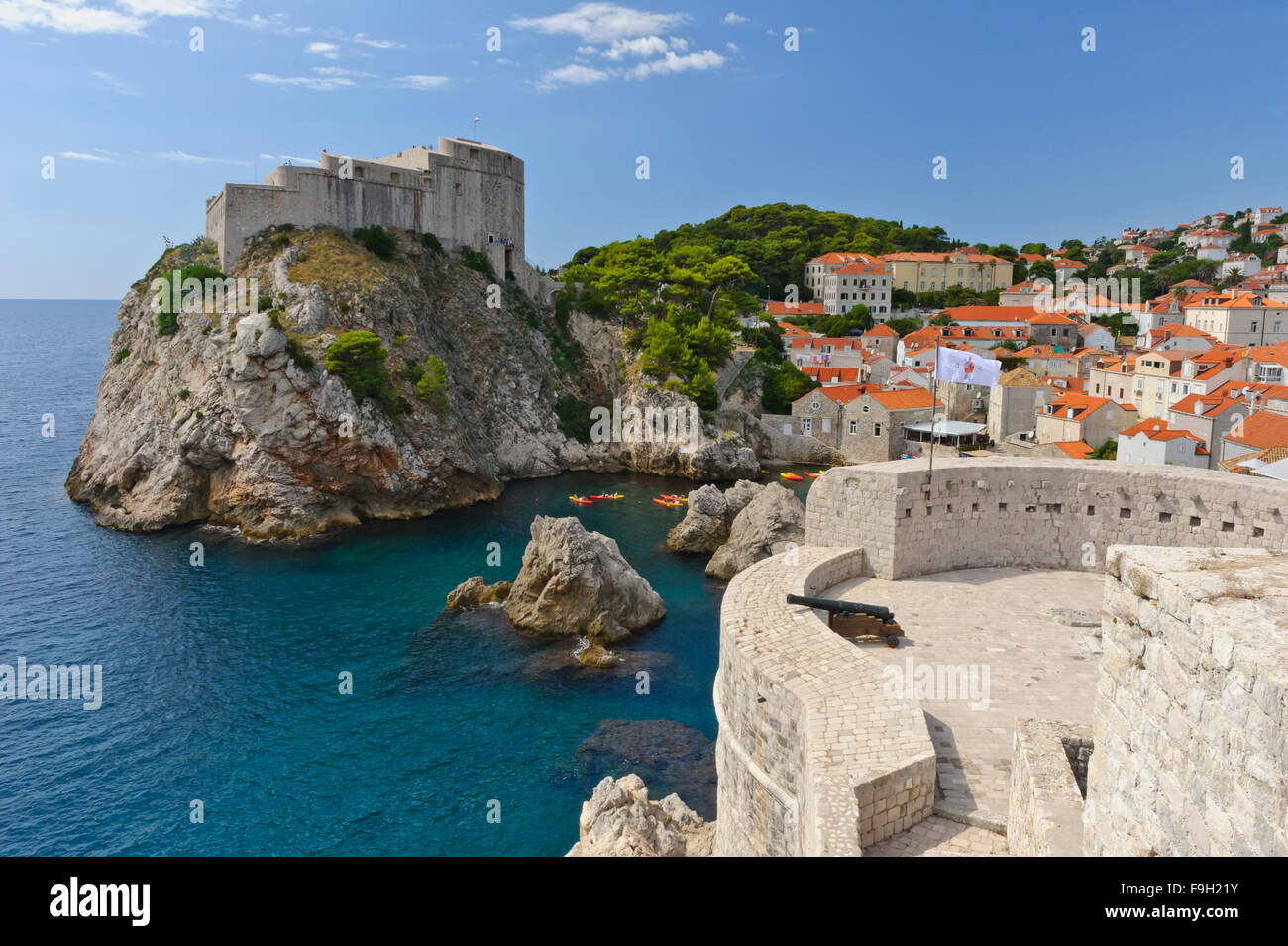 Fort Lovrijenac or St. Lawrence Fortress perch on a huge rock facing the sea, Dubrovnik, Croatia. Stock Photo