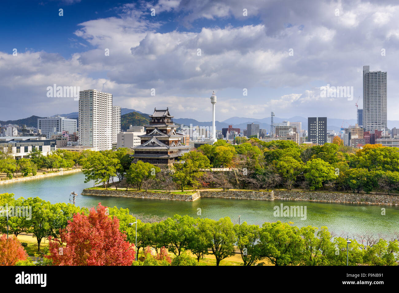 Hiroshima, Japan city skyline at the castle. - Stock Image