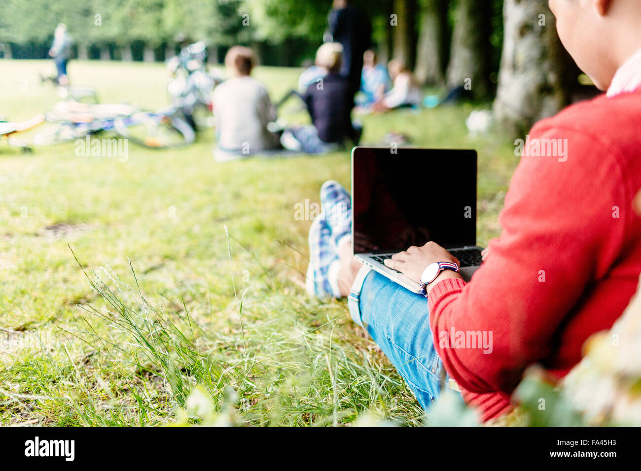 Rear view of university student using laptop at park - Stock Image